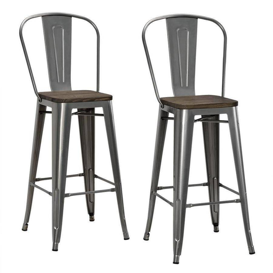Dhp Luxor 30 Metal Bar Stool With Wood Seat Set Of 2 Various