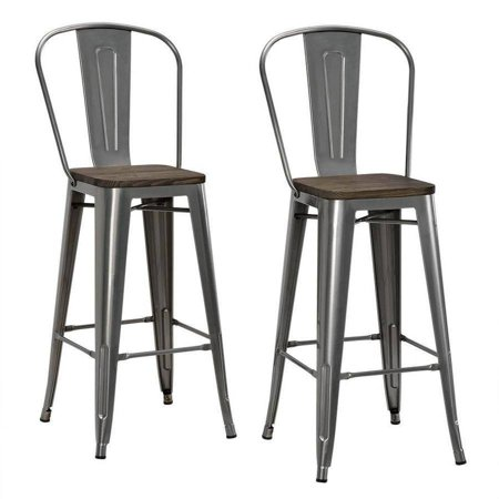 Super Dhp Luxor 30 Metal Bar Stool With Wood Seat Set Of 2 Various Colors Unemploymentrelief Wooden Chair Designs For Living Room Unemploymentrelieforg