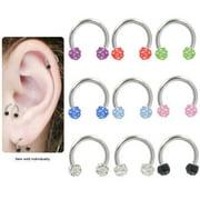 "Aurora Circular Barbell 16g 5/16"" Horseshoe Tragus Cartilage Horseshoe Earring"