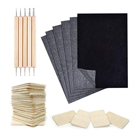 Pixiss 25 Sheets Carbon Transfer Paper, 5 Embossing Stylus Tool Set for Wood Tracing, 20x Rectangle Wood Pieces (2 x 1.4-inches) Wood Burning (Wood Paper)
