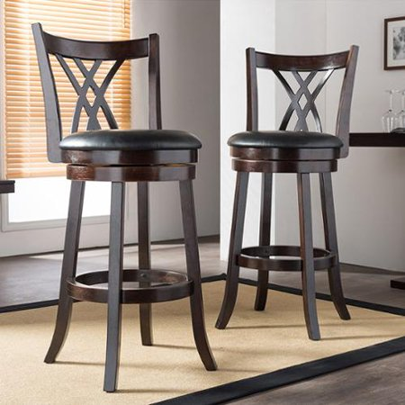 Warrick Dark Cappuccino 29 Inches Swivel Bar Stool With PU Leather Upholstered Seat (Set of 2)