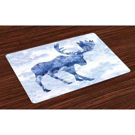 Moose Placemats Set of 4 Blue Pattern Pine Needles Spruce Tree with Antlers Deer Family Snow Winter Horns, Washable Fabric Place Mats for Dining Room Kitchen Table Decor,Blue White, by Ambesonne
