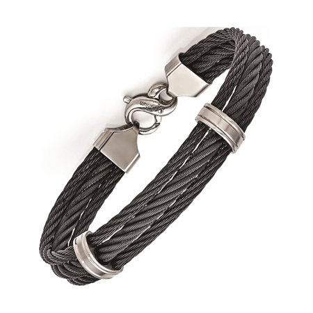 Inspired Cable Bracelet (Titanium Three Row Cable)