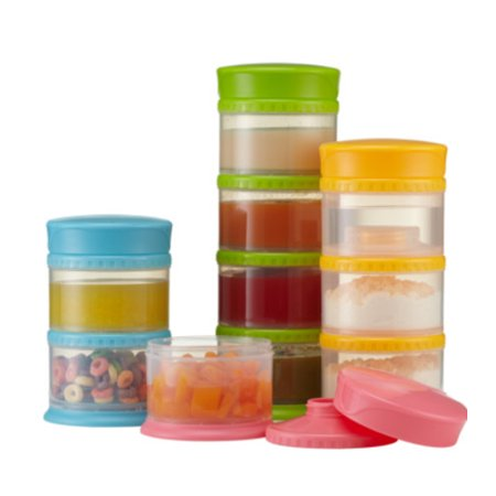 Innobaby Packin' Smart Stackable and Portable Storage System for Formula, Liquid, Baby Snacks and more. 3 Stackable Cups in Blueberry. BPA - 3 Snack Cups