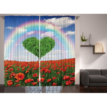 Hearts Love Sky Rainbow Garden Poppies Floral Curtains For