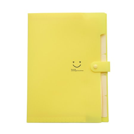 5 Pockets Plastic Expanding File Folders A4 Letter Size Snap Closure Accordion Folder Paper Document Organizer Set (Yellow)