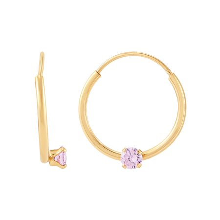 Brilliance Fine Jewelry Children's 10K Yellow Gold Endless Hoop Earrings with Pink Cubic Zirconia