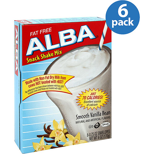 Alba Smooth Vanilla Bean Fat-Free Snack Shake Mix, 6 oz, (Pack of 6)