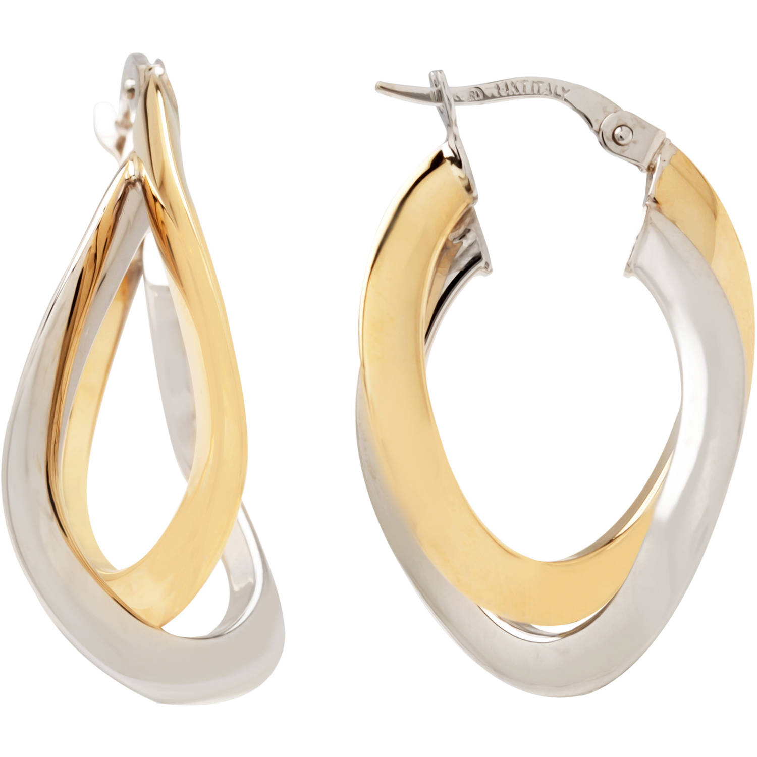 "Simply Gold 14kt Yellow and White Gold 1"" Double Oval Hoop Earrings"