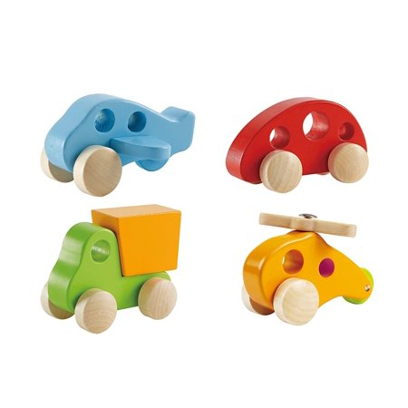 4 Piece Wooden Toys Set with Toy Car Airplane Truck and Helicopter Wood Push Toys
