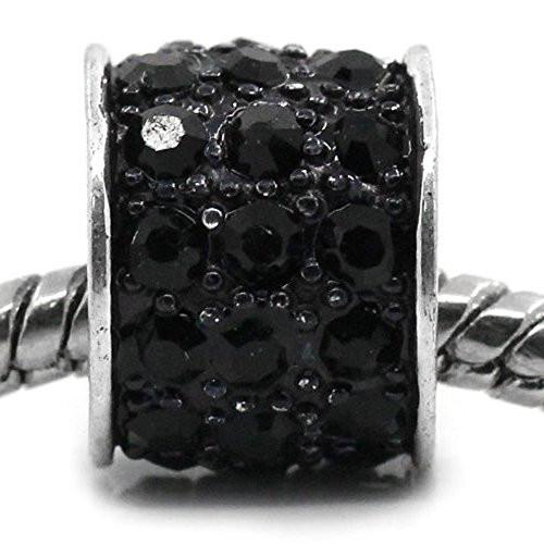 Black Cylinder Charm w/  Rhinestones European Bead Compatible for Most European Snake Chain Bracelet