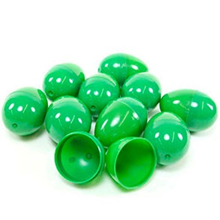 24 GREEN EMPTY EASTER EGGS VENDING, CRAFTS, ETC., 24 GREEN EASTER EGGS By DISCOUNT PARTY AND NOVELTY