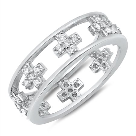 Clear CZ Square Cross Open Eternity Ring ( Sizes 5 6 7 8 9 10 ) New 925 Sterling Silver Band Rings by Sac Silver (Size -