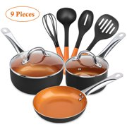 "SHINEURI Nonstick 9 PCS Copper Cookware Pots and Pan Set,8""Round Fry Pan,1.5qt,2.5qt Covered Saucepan with 4 Kitchen Utensils Set for Induction,Gas,Electric and Stovetops - Dishwasher Safe(Black)"