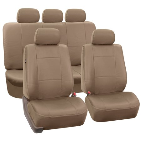 - FH Group Tan Faux Leather Airbag Compatible and Split Bench Car Seat Covers, Full Set