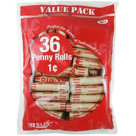 Penny Tubes Paper Coin Wrappers, 36 Per Pack