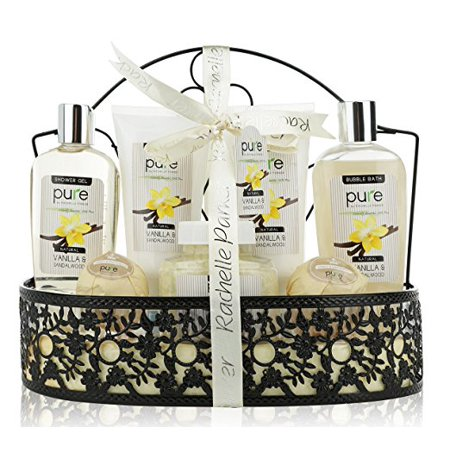 Gift Baskets Canada Spa - Pure Spa Gift Basket with Sandalwood and Vanilla! Beautiful Natural Spa Metal Basket Gift for Men with Lush Bath Bombs, Bubble Bath & Body Lotion, Women's or Men's Gift Set!