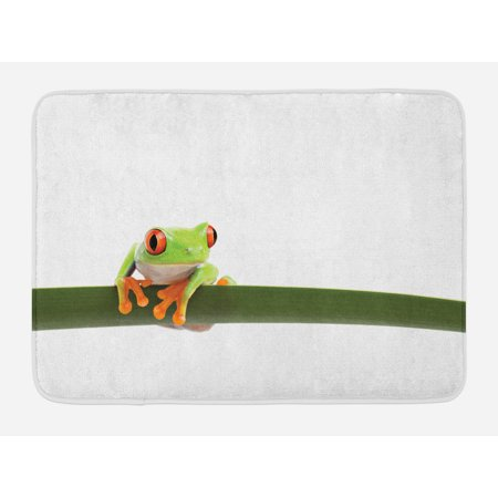 Animal Bath Mat, Red Eyed Tree Frog Perches on a Long Slim Leaf Tropic Rainforest Animal Wild Life, Non-Slip Plush Mat Bathroom Kitchen Laundry Room Decor, 29.5 X 17.5 Inches, Green White, Ambesonne