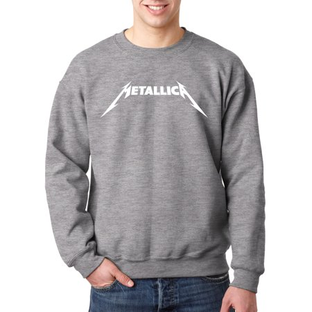 New Way 925 - Crewneck Metallica Metal Rock Band Logo Sweatshirt Small Heather Grey - Metal Mens Sweatshirt
