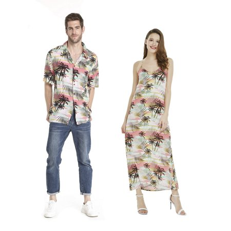 Couple Matching Hawaiian Luau Shirt Maxi Sweet Heart Dress in Neon Sunset Men L Women M - Neon Glow In The Dark Dresses