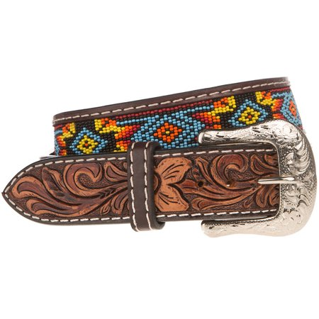 Western Fashion Accessories Mens  Beaded Belt 42 Brown Western Fashion Accessories  Mens  Beaded  Belt  XIBB100