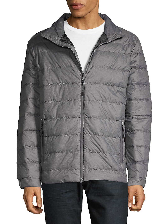 Horizontal-Quilt Down Puffer Jacket