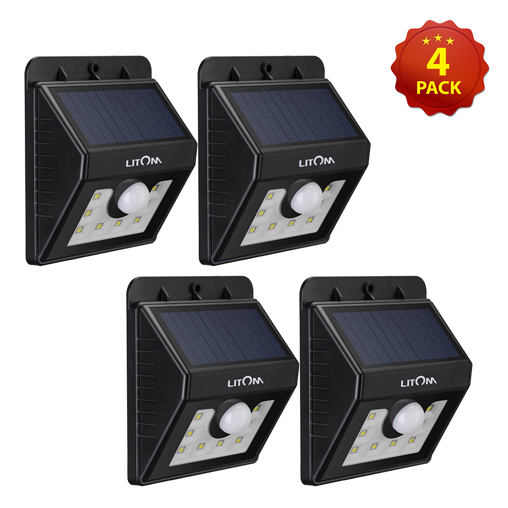 litom super bright 8 led solar powered wireless motion sensor light with 3