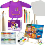 glokers Kids Acrylic Paint Set - Easel, Paintbrushes, Canvases, Palettes, Smock & Travel Storage Bag - Premium Children's Arts & Crafts Supplies