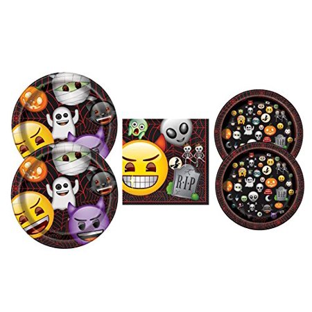 Halloween Emoji Themed Party Supply Pack Plates and Napkins Serves 16 (Halloween 4 Main Theme)