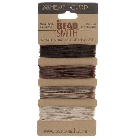 Natural Hemp Twine Bead Cord 0.55mm Four Color Assorted Variety Pack - 42 Feet