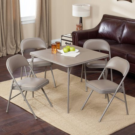 Meco Sudden Comfort Deluxe Double Padded Chair and Back - 5 Piece Card Table Set - Chickory (Standard Deluxe Work Table)