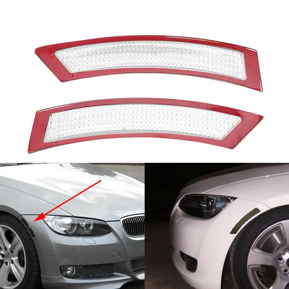 White Vehicle E92 Side Marker Lamp Bumper Cover Reflectors L//R US Plug