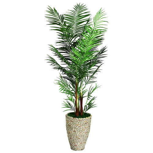 Laura Ashley by Vintage Home 90-in Tall Areca Palm Tree in 16-in Fiberstone Planter 36L 36W 89.5H