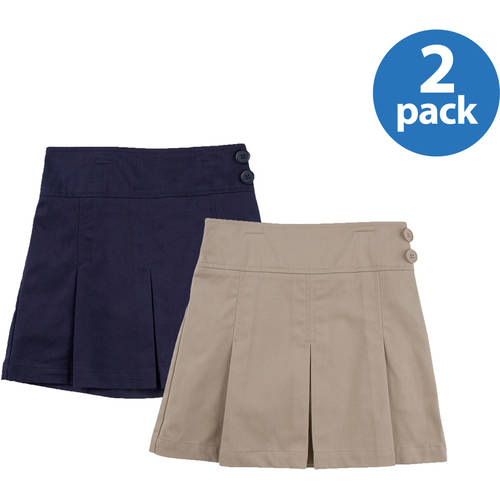George Girls' School Uniforms Pleated Scooter with Side Buttons 2 Pack