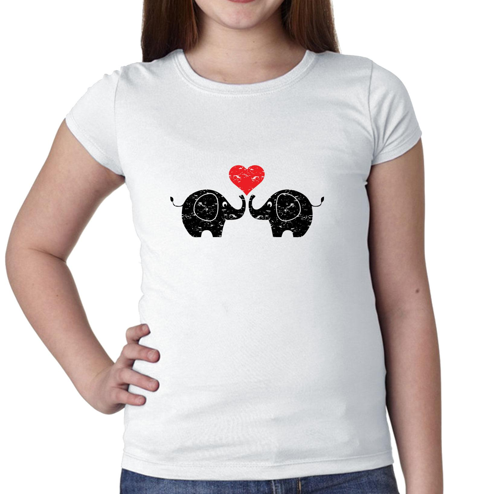 Elephants in Love - Red Heart Touching Trunks Cute Girl's Cotton Youth T-Shirt