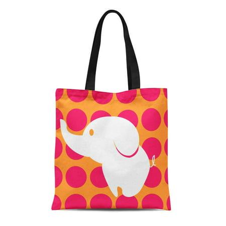 Pink Polka Dot Tote - ASHLEIGH Canvas Tote Bag Pink White Cute and Colorful Orange Polka Dots Fun Reusable Handbag Shoulder Grocery Shopping Bags