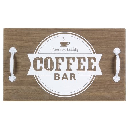 15.75 Inch Tray - Premium Coffee Wood Tray With Metal Handles or Wall Sign 15.75 Inches