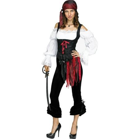 Womens Sexy Pirate Steampunk Costume Frill Pants Fancy Black Sized Halloween