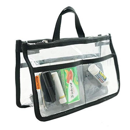 - Clear Handbag Purse Organizer | Clear PVC w/Zippers | Black Trim