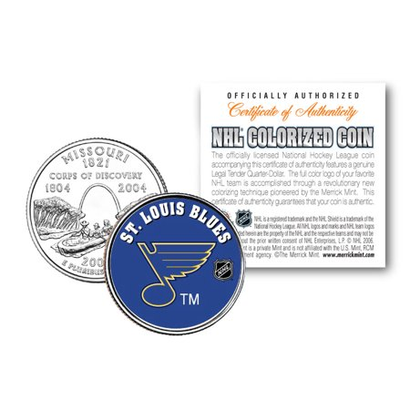 - ST. LOUIS BLUES NHL Hockey Missouri Statehood Quarter US Colorized Coin LICENSED