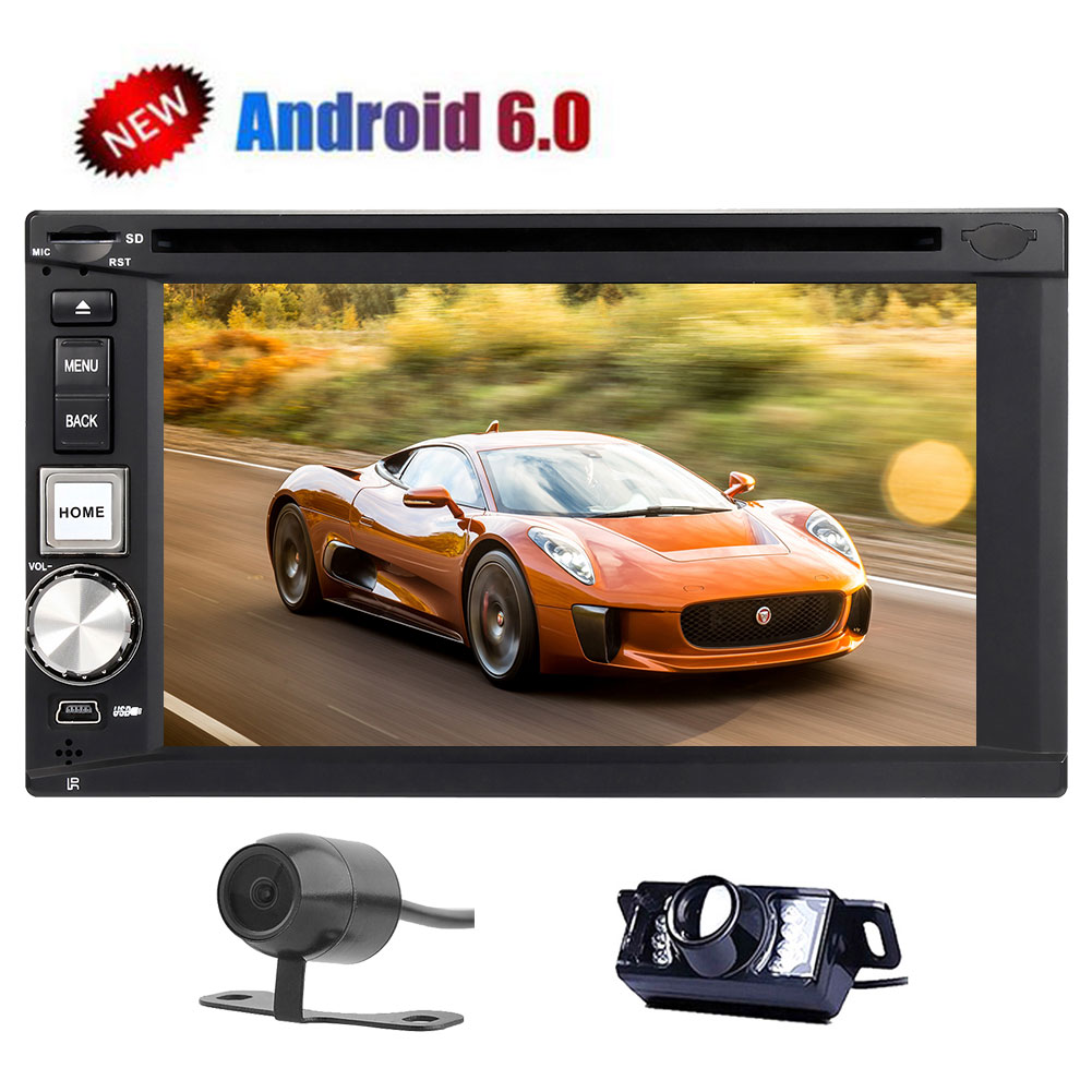 New Double Din Car DVD Player Android 6.0 Marshmallow OS Car Stereo with GPS Navigation In Dash Bluetooth AM/FM/RDS Radio Support WiFi/OBD2/Mirrorlink/USB/SD/SWC+Front/Backup Cam