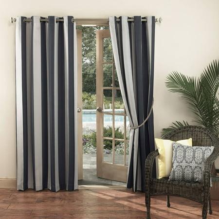 Sun Zero Indoor Outdoor Woven Stripe Window Curtain