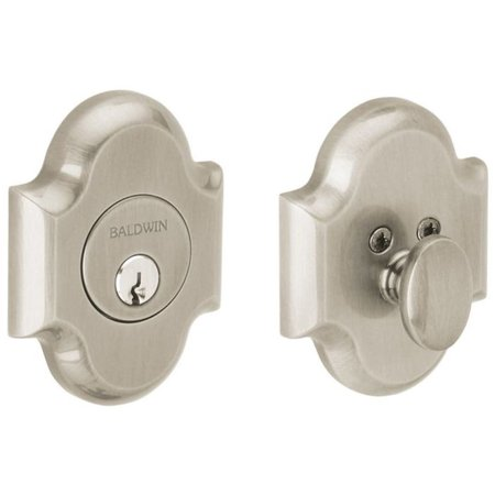 Baldwin 8252 Boulder Arched Single Cylinder Deadbolt from the Images Collection, Satin Nickel (Nickel Single Cylinder Boulder)