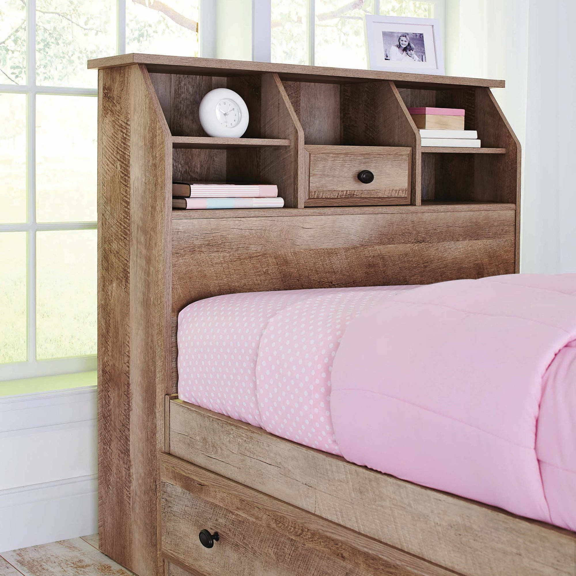 Better Homes And Gardens Crossmill Bookcase Headboard Twin Weathered Walmart Com
