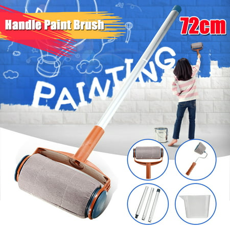 6Pcs Paint Roller Kit Paint Roller Set Paint Brush Handle Roller Flocked Edger Corner Cutter Wall Painting Tool Set with Aluminum Tube For