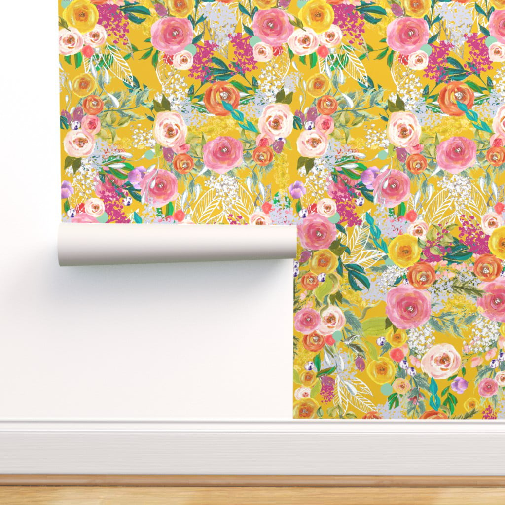 Peel And Stick Removable Wallpaper Mustard Yellow Floral Boho