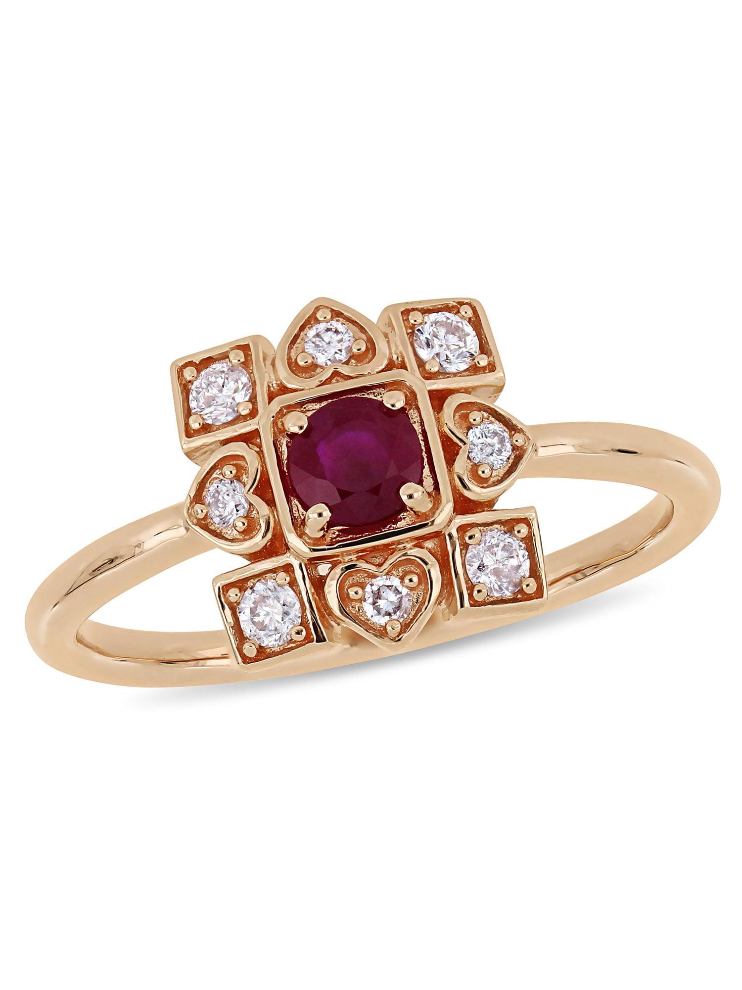 Tangelo 1/3 Carat T.G.W. Ruby and 1/5 Carat T.W. Diamond 10kt Rose Gold Vintage Geometric Ring