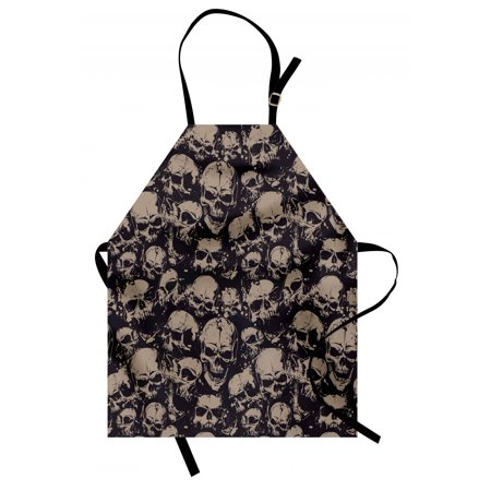 Skull Apron Grunge Scary Skulls Sketchy Graveyard Death Evil Face Horror Theme Design, Unisex Kitchen Bib Apron with Adjustable Neck for Cooking Baking Gardening, Charcoal Grey Tan, by