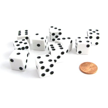 Koplow Games Set of 10 Six Sided Square Opaque 16mm D6 Dice - White with Black Pip Die