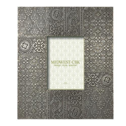 """Pack of 2 Antique-Style Silver Stamped Pattern Oversized 5 x 7 Frame 13.5"""""""